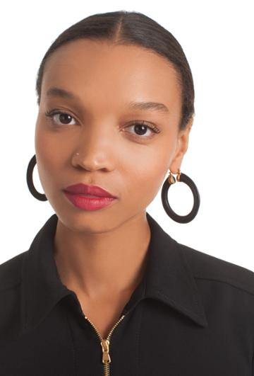 Trina Turk Trina Turk Sunset Leather Hoop Earring - Black - Size Fit Guide