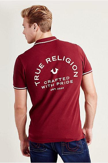 Crafted Logo Mens Polo Shirt | Burgundy | Size Small | True Religion