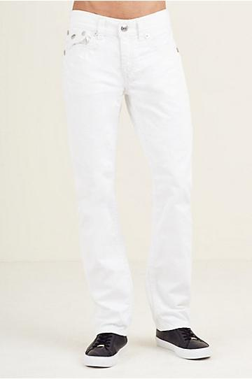 Straight Flap White Super Qt Stitch Mens Jean | Size 32 | True Religion