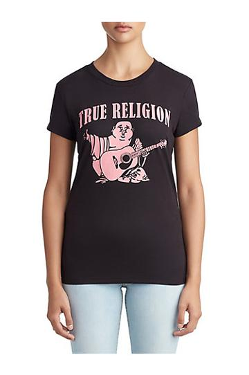 Womens Classic Buddha Logo Graphic Tee For Breast Cancer | Black | Size Xx Small | True Religion