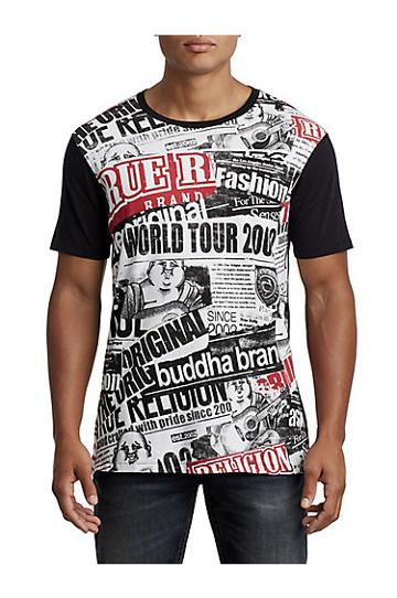 Men's Buddha Tabloid Elongated Tee | White/black | Size Small | True Religion