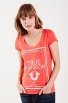 True Religion Reflective Rounded Vneck Tee - Red