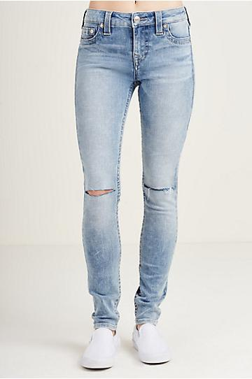 True Religion Super Skinny Knee Slit Womens Jean - Blue Glow Slit