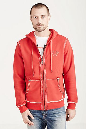 True Religion Big T Stitch Mens Hoodie - True Red