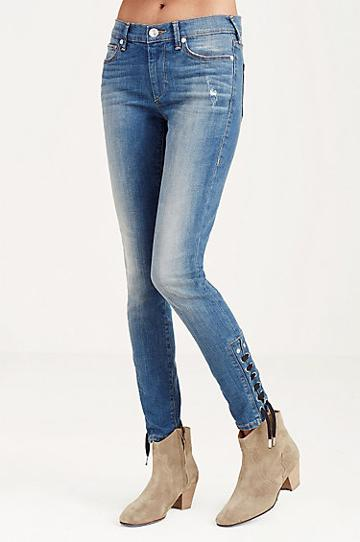 True Religion Halle Super Skinny Cropped Ankle Lace Up Womens Jean