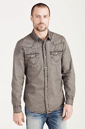 True Religion Jake Mens Western Shirt - Concrete