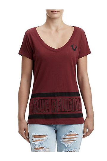 Women's Stripe Big Buddha Tee | Burgundy | Size Small | True Religion