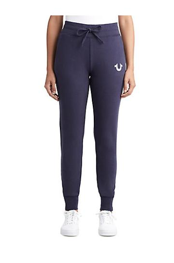 Womens Crystal Embellished Zipper Jogger | Navy | Size Small | True Religion