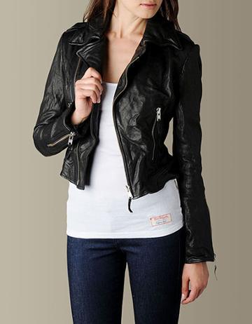 Womens Moto Leather Jacket - (black)