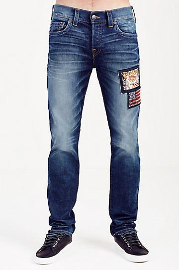 True Religion Rocco Skinny Mens Jean - Urban Dweller With Patches