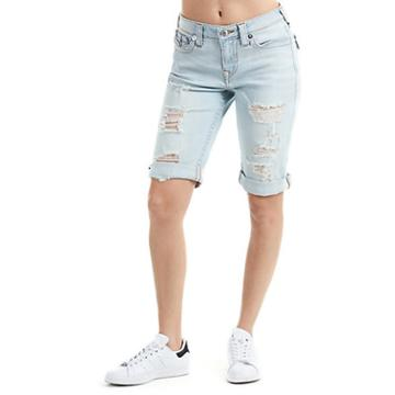 Women's Curvy Knee Length Shorts | Light Powder Blue | Size 38 | True Religion