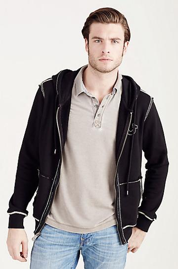 True Religion Big T Stitch Mens Hoodie - Jet Black