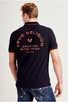 Crafted Logo Mens Polo Shirt | Black | Size Large | True Religion