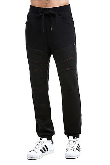 Mens Contrast Stitch Coated Sweatpant | Black | Size Small | True Religion