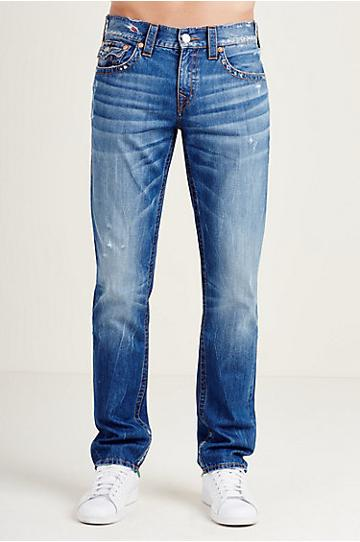 True Religion Skinny Flap Orange Stitch Mens Jean - Right Turn