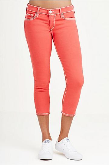 True Religion Casey Super Skinny Super T Womens Capri - Vintage Red