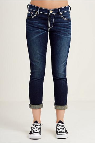 True Religion Liv Relaxed Skinny Super T Womens Jean - Shady Blue