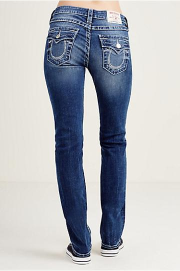 True Religion Straight Flap Crystal Logo Womens Jean - Crisp Hue