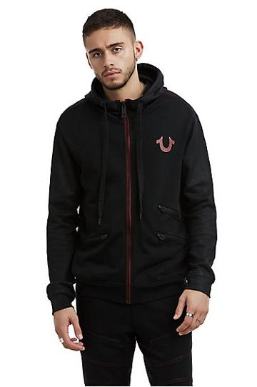 Mens Constrast Stitch Coated Zip Up Hoodie | Black | Size Small | True Religion