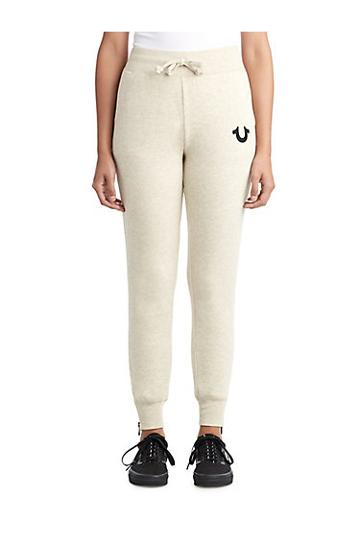 Womens Crystal Embellished Zipper Jogger | Oatmeal | Size Small | True Religion