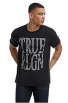Mens Crafted Chain Logo Tee | Black | Size Small | True Religion