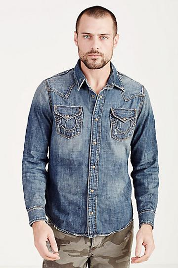 True Religion Ryan Western Mens Shirt - Dflm Mid Rockies