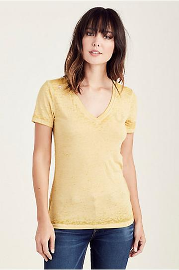 Buddha Burnout Slim Womens Tee | Yellow | Size Small | True Religion