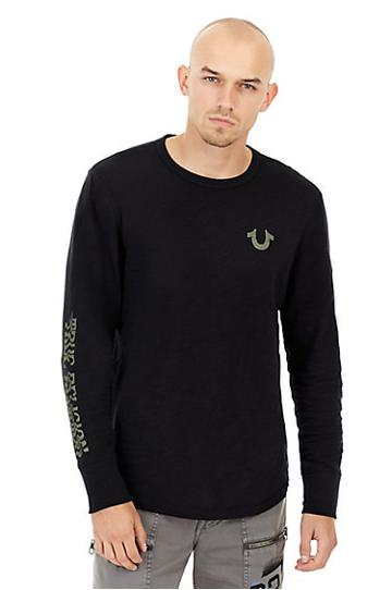 Mens Distorted Graphic Long Sleeve Shirt | Black | Size Medium | True Religion