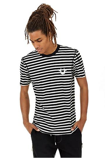 Mens Striped Crew Tee | Black | Size Large | True Religion