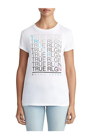 Womens Crystal Embellished Fade Graphic Tee | White | Size X Small | True Religion
