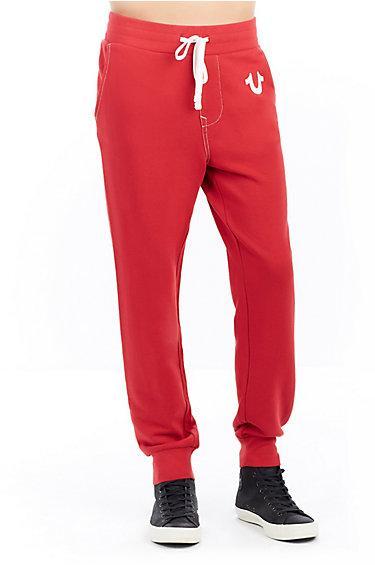 Classic Logo Jogger Mens Sweatpant   Ruby Red   Size Medium   True Religion