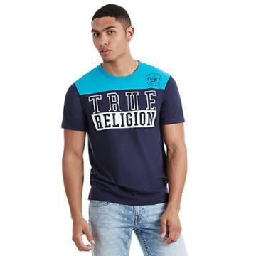 Block True Religion Football Mens Tee | Navy/powder Blue | Size Medium