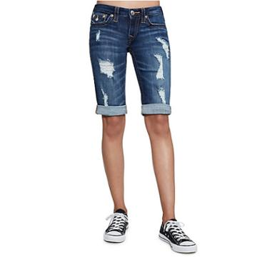 Women's Distressed Folded Bermuda Short | Midnight Destroyed | Size 27 | True Religion