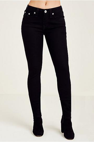 Women's Curvy Skinny Fit Black Jean | Body Rinse | Size 24 | True Religion