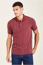 Monogram Mens Polo Shirt   Burgundy   Size Medium   True Religion