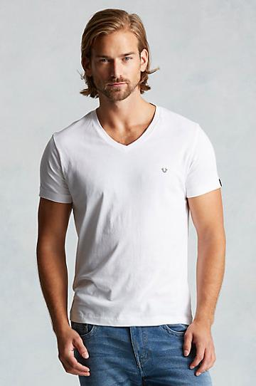 True Religion V Neck Mens Tee - White