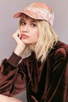 Urban Outfitters Floral Satin Baseball Hat,pink,one Size