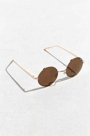 Urban Outfitters Quay Electric Dreams Round Sunglasses,gold,one Size