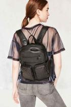 Urban Outfitters Leather Grommet Backpack,black,one Size