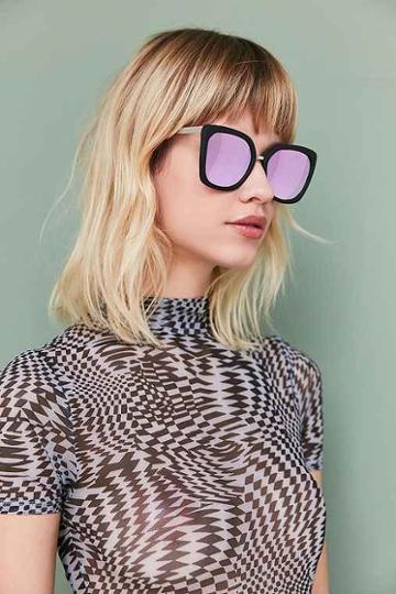 Urban Outfitters Quay Capricorn Square Sunglasses,black,one Size