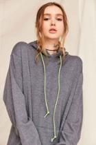 Urban Outfitters Urban Renewal Recycled Bungee Cord Hoodie Sweatshirt,charcoal,s/m