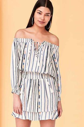 Urban Outfitters Astr Blair Off-the-shoulder Blouson Mini Dress,cream Multi,m