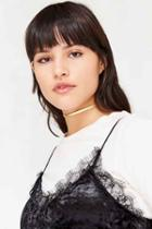 Urban Outfitters Allie Leather Choker Necklace,gold,one Size