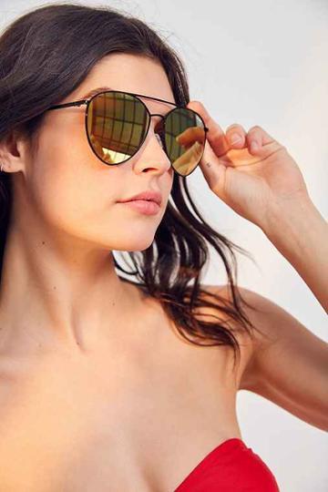 Urban Outfitters Quay X Jasmine Sanders Indio Metal Sunglasses,black,one Size