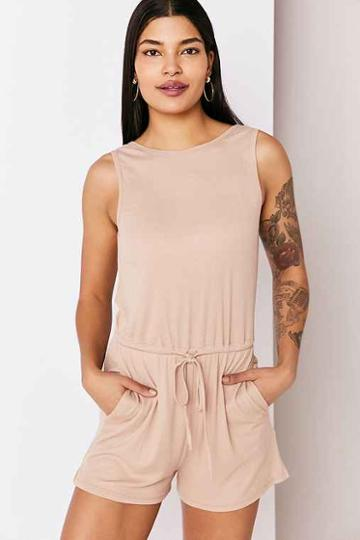 Urban Outfitters Silence + Noise Rib Knit Plunge-back Romper,cream,xs