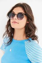 Urban Outfitters Quay Fleur Round Cat-eye Sunglasses,black,one Size