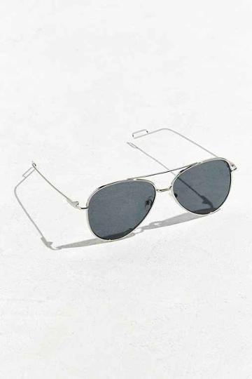Urban Outfitters Flat Lens Aviator Sunglasses,black,one Size