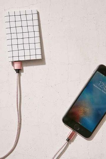 Urban Outfitters Slim Grid Portable Power Charger,white Grid,one Size