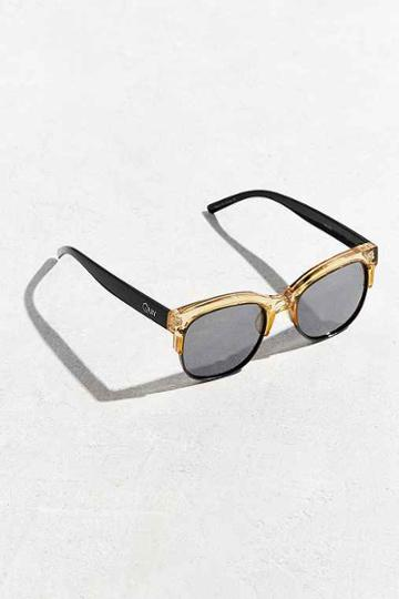 Urban Outfitters Quay Bronx Half-frame Sunglasses,yellow,one Size