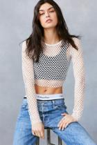 Urban Outfitters Out From Under Diamond Fishnet Long Sleeve Top